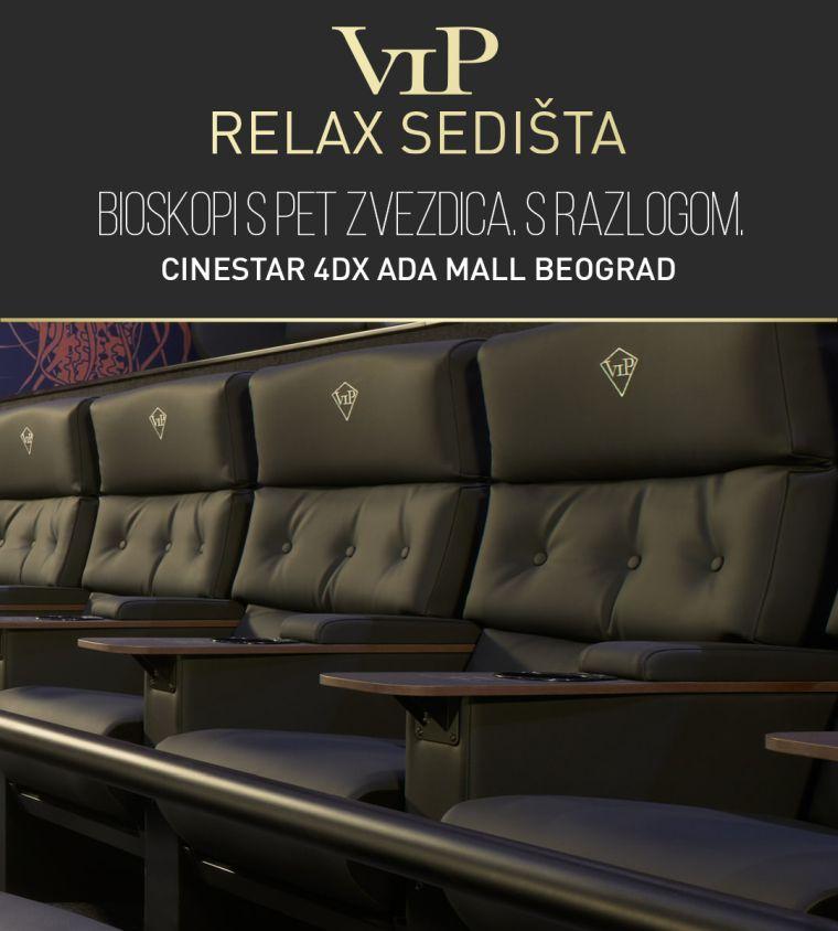 VIP Relax sedišta CineStar 4DX Ada mall Beograd